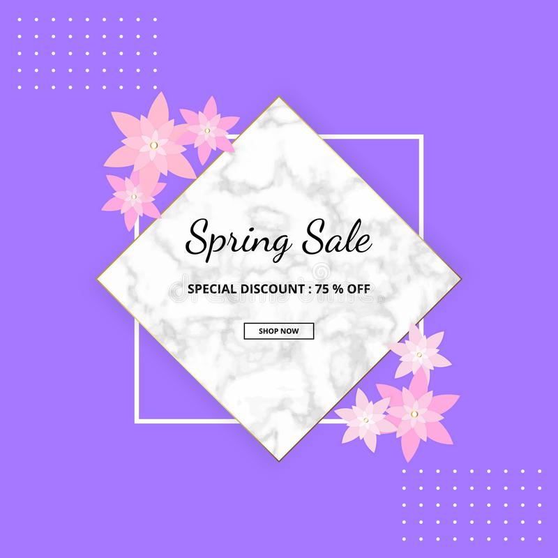 Spring banner background with beautiful colorful flower, white marble texture and frame. Vector illustration. Templates for design royalty free illustration