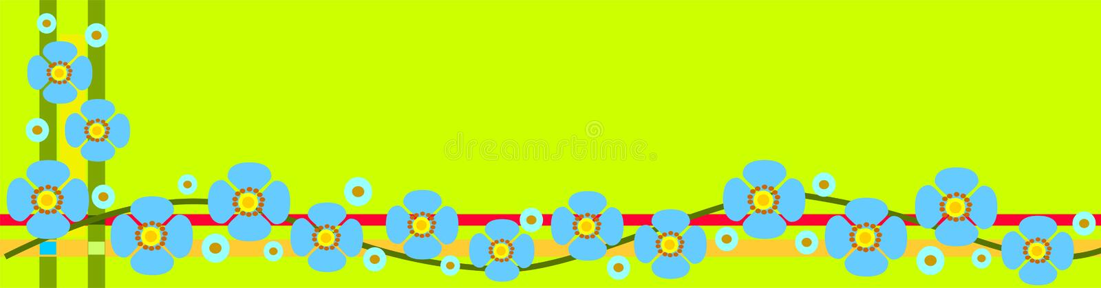 Spring banner with flowers. Decorative header / banner in spring colors with charming little flowers and flower buds vector illustration