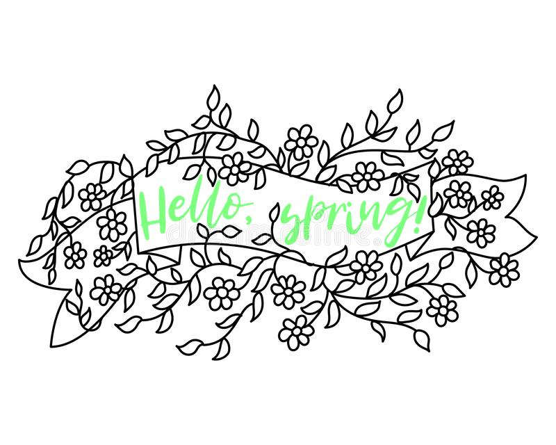 Spring banner sale design. Season sale vector label with flower. Spring floral background. Label ribbon tag. Sale poster royalty free illustration