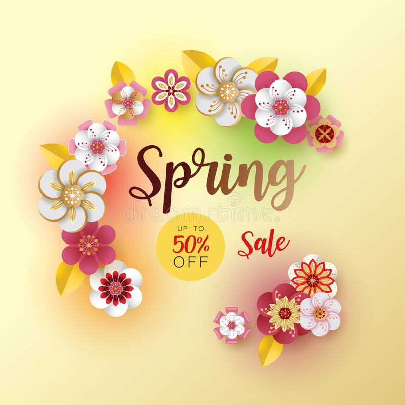 Spring banner sale. With leaf and colorful flowers design. Paper cut art style on white background. For a festive season Vector il vector illustration