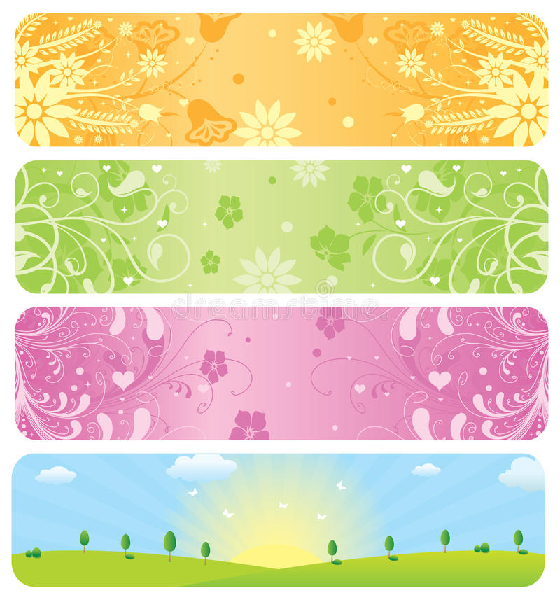 Download Spring Banners stock vector. Image of empty, floral, banner - 13332727