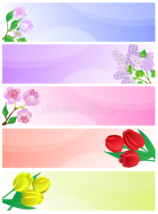 Download Spring banners. stock vector. Image of background, floral - 9011201