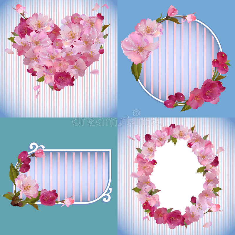 Spring banners with beautiful sakura flowers vector illustration