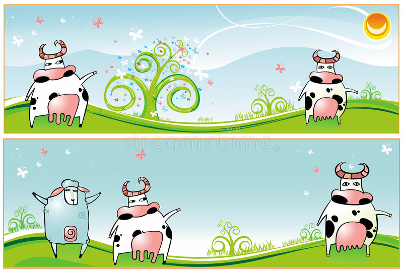 Download Spring  Banners  Cows  Sheep Stock Vector - Image: 4445566