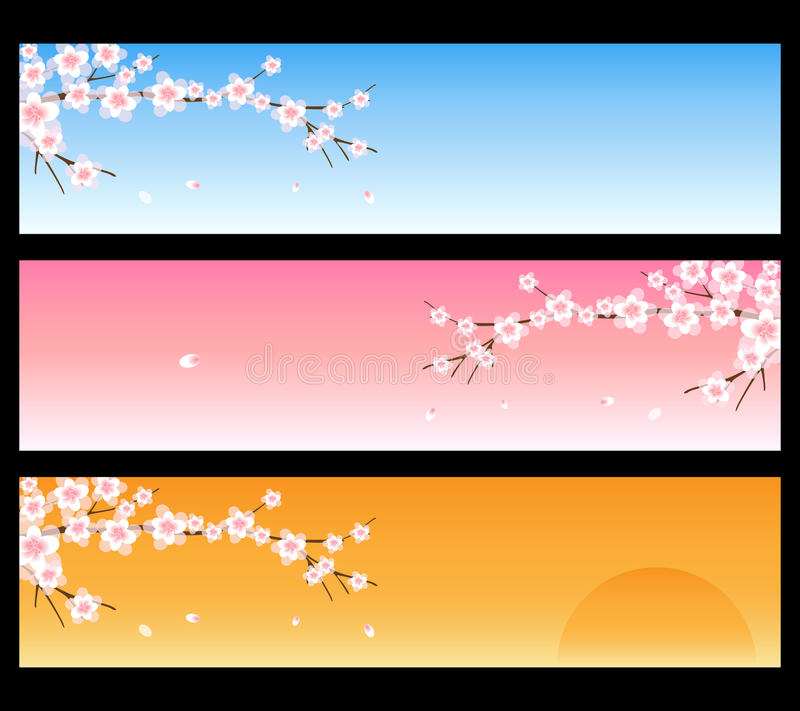 Spring banners - sakura. Set of three spring banners with branches of sakura, isolated on black.EPS file available