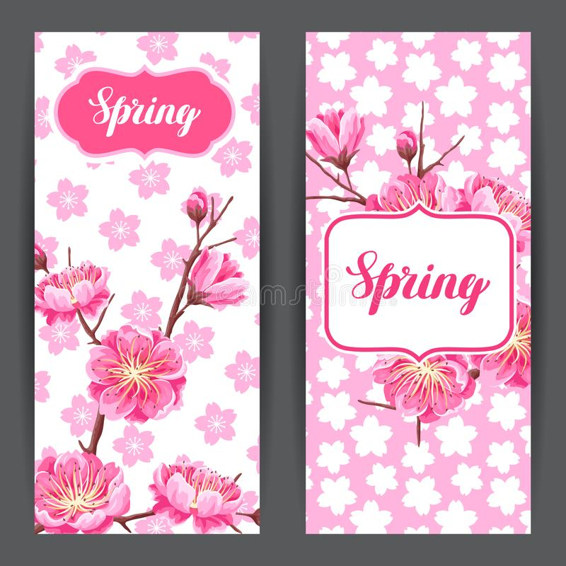Spring banners with sakura or cherry blossom. Floral japanese ornament of blooming flowers royalty free illustration