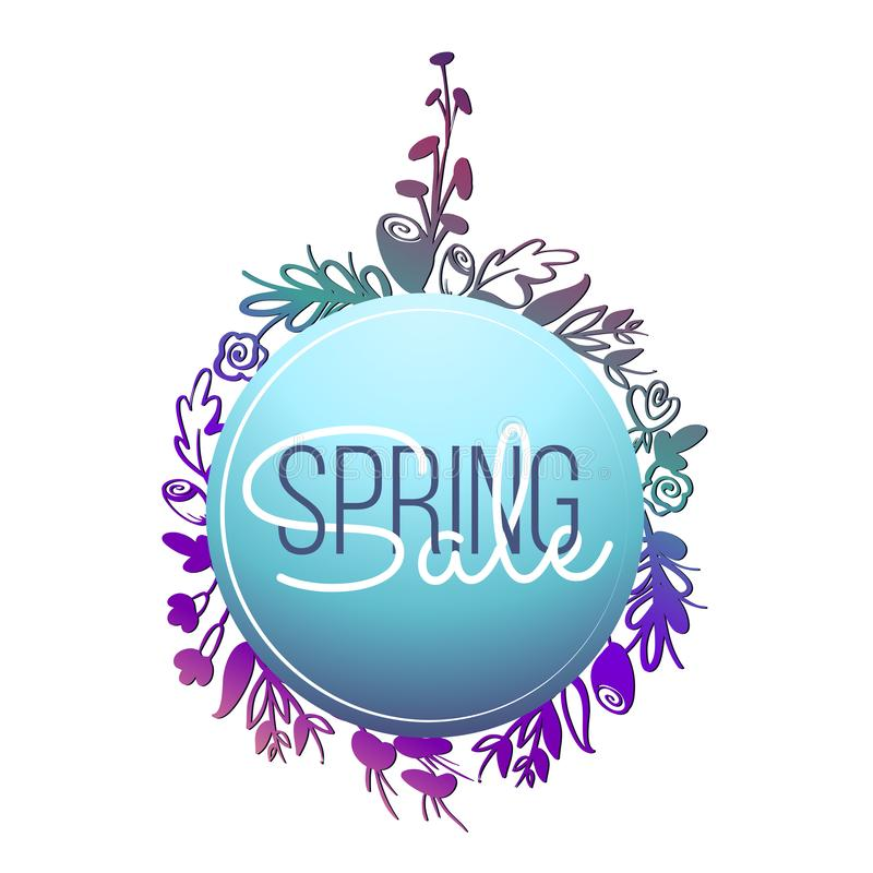 Spring banners Sale template with doodle pink flowers and leaves indigo and blue colours. Creative universal editable vector illustration