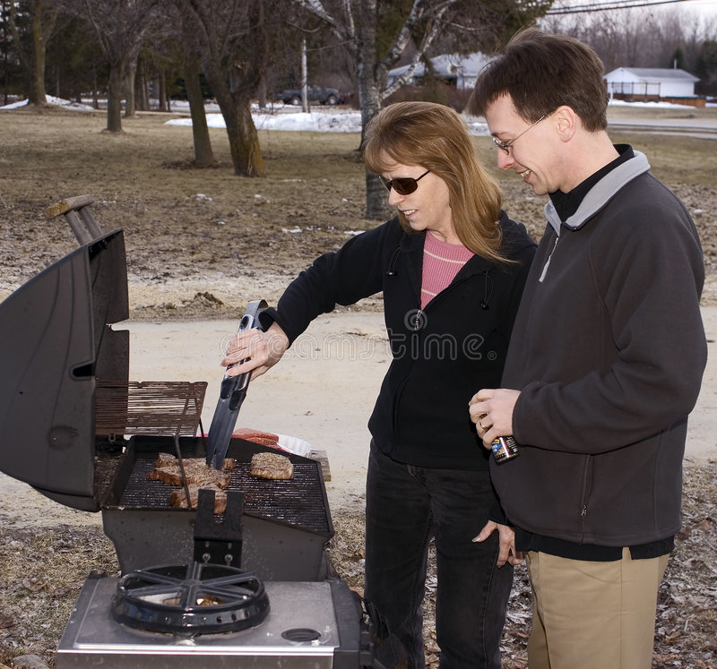 Spring BBQ With Snow stock images