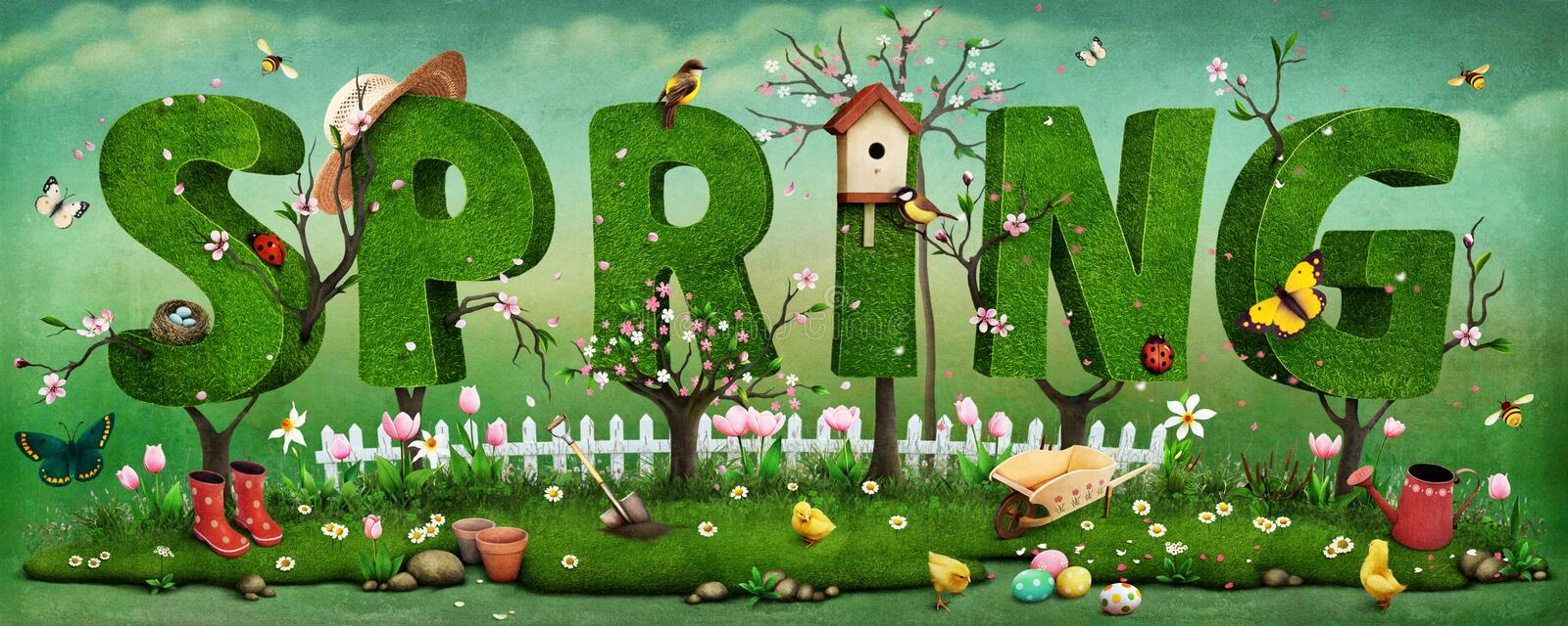 Spring. Beautiful festive spring illustration on Mother's Day and Easter with trees in form of letter. Computer graphics