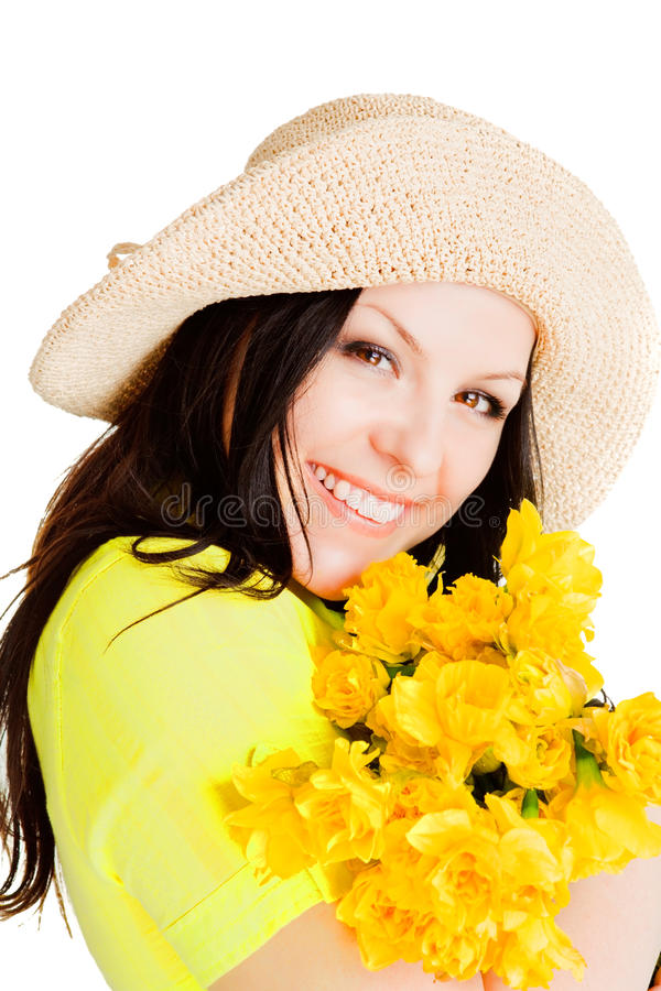 Spring beautiful woman holding flowers over white. Background stock photos