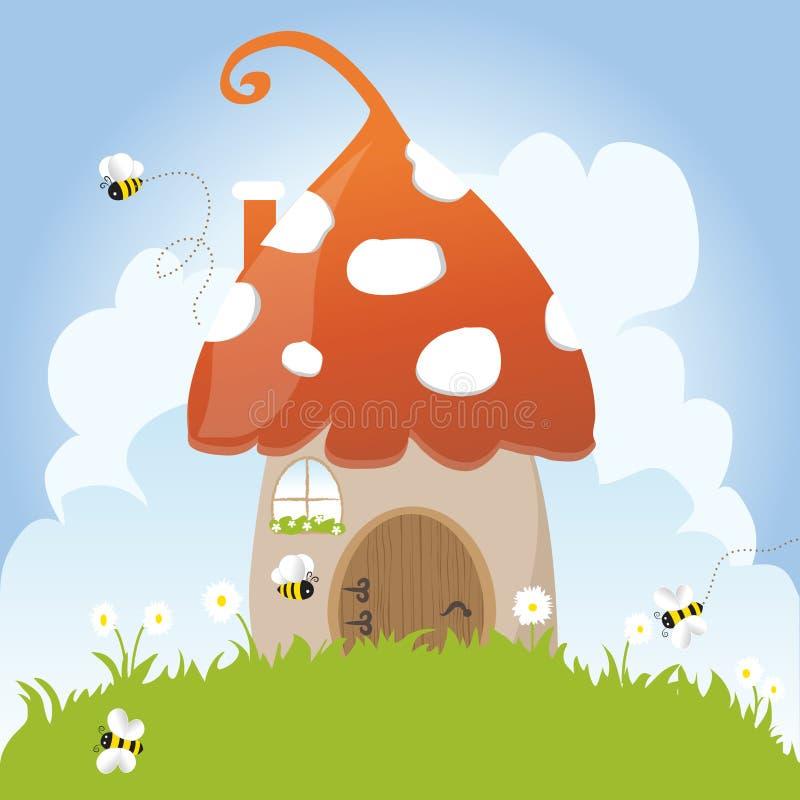 Spring Bees House Mushroom Door Fairy Tale Clouds vector illustration