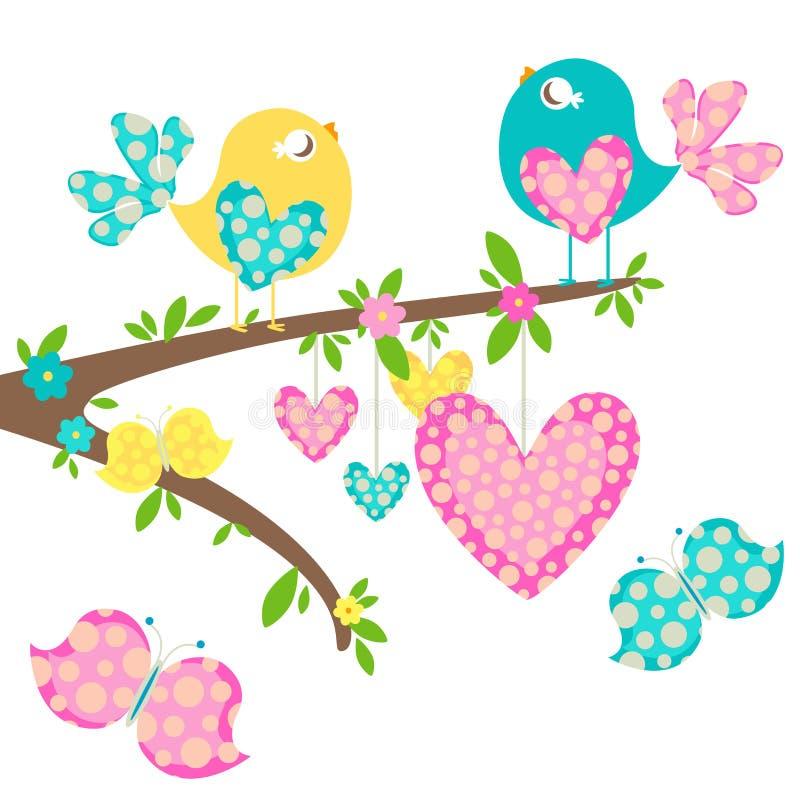 Spring birds vector illustration