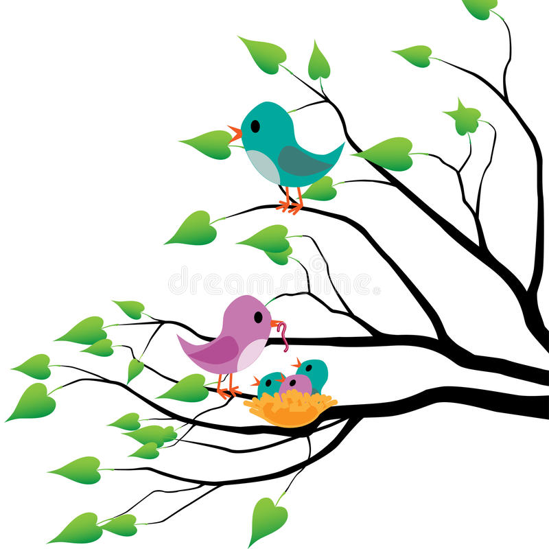 Download Spring birds stock vector. Image of design, bird, heart - 24274090