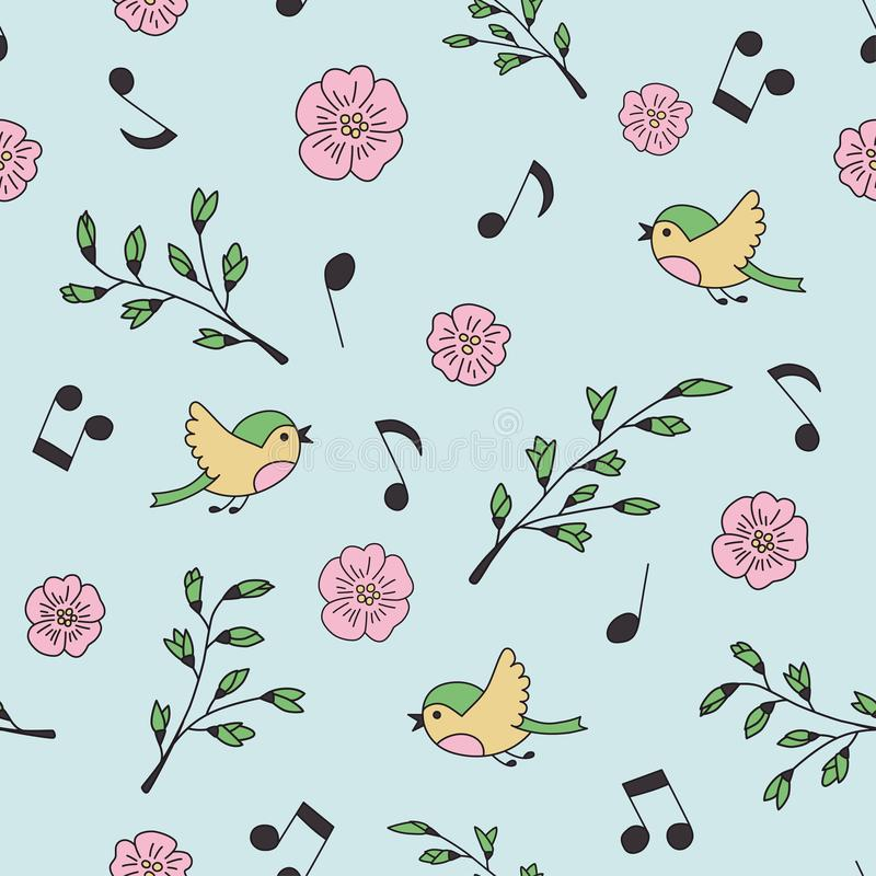 Spring, birds and music. Doodle and cartoon. Seamless pattern. royalty free illustration