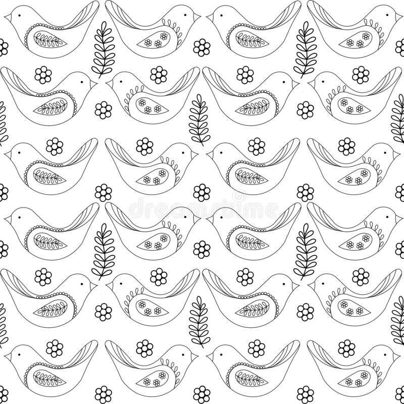 Spring birds seamless pattern, vector black and white drawing. stock illustration