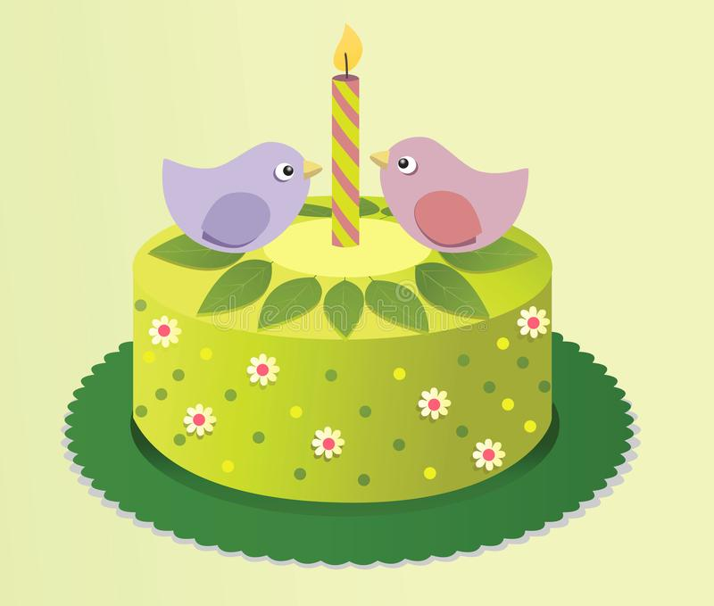 Spring birthday cake with sweet birds. Birthday spring cake with birds and flowers stock illustration