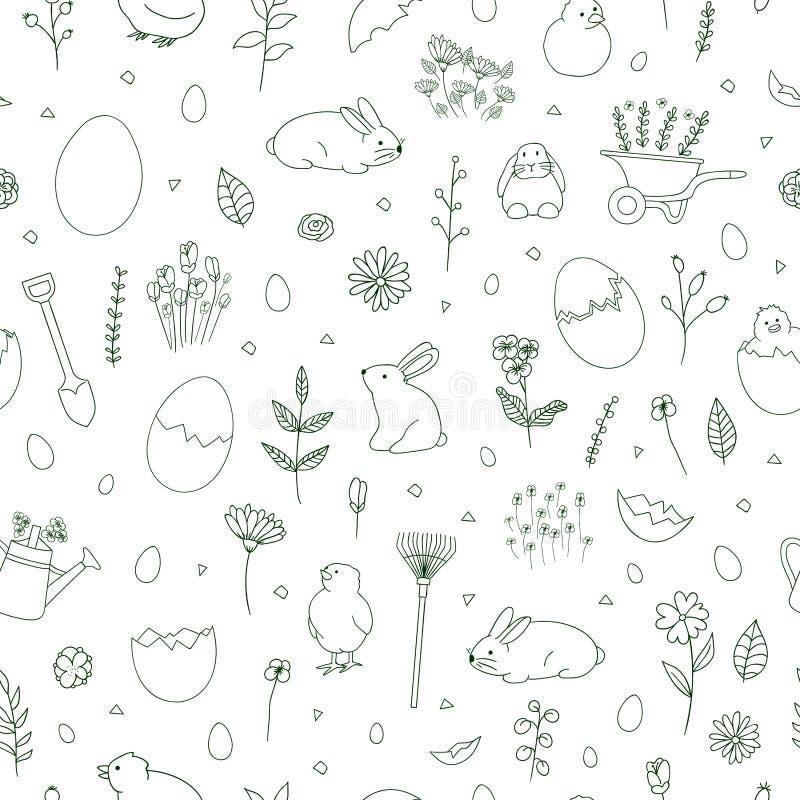 Spring black and white pattern vector illustration