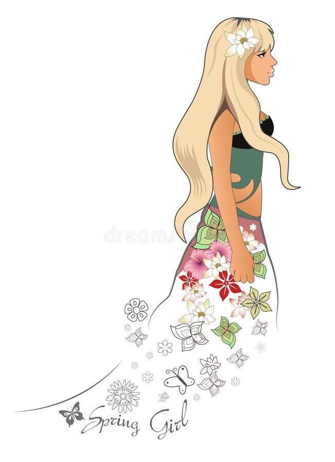 Spring blonde girl royalty free illustration