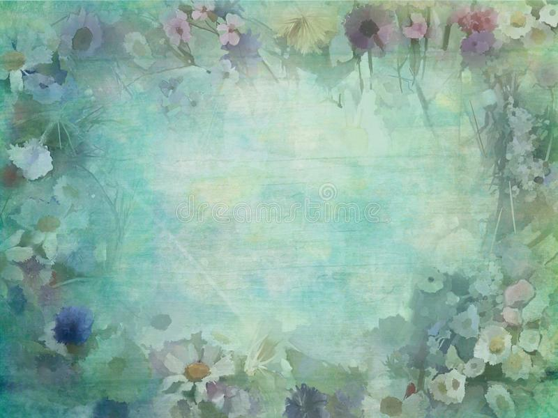 Spring blossoms on vintage wallpaper royalty free stock image