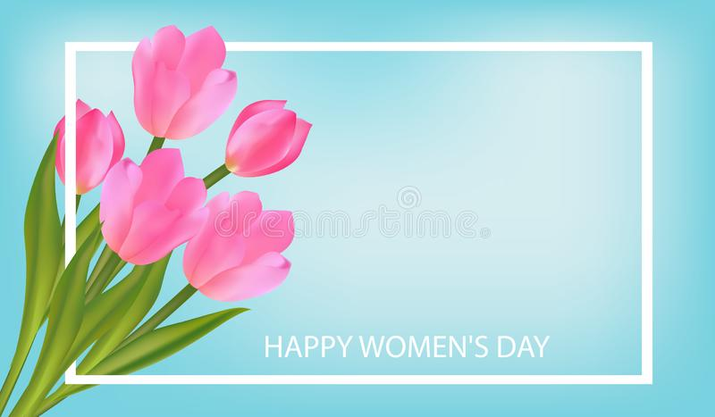 Spring blue Background with Tulips. March 8 International Women`s Day greeting card template with flowers. Vector royalty free illustration