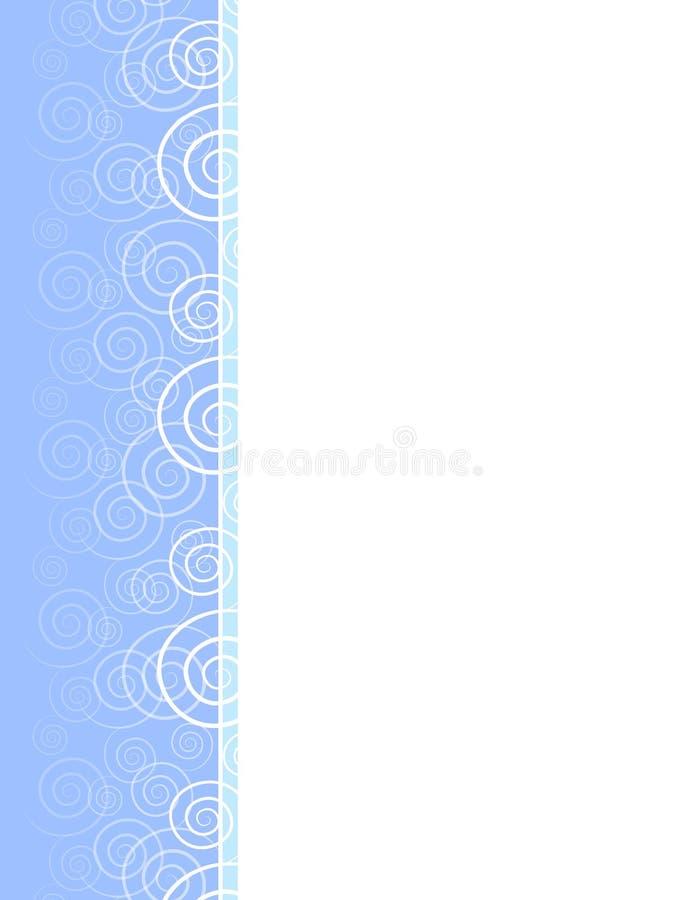 Spring Blue Swirls Spirals Border. A background border featuring decorative swirls and spirals in white set against 2-tone blue colours royalty free illustration