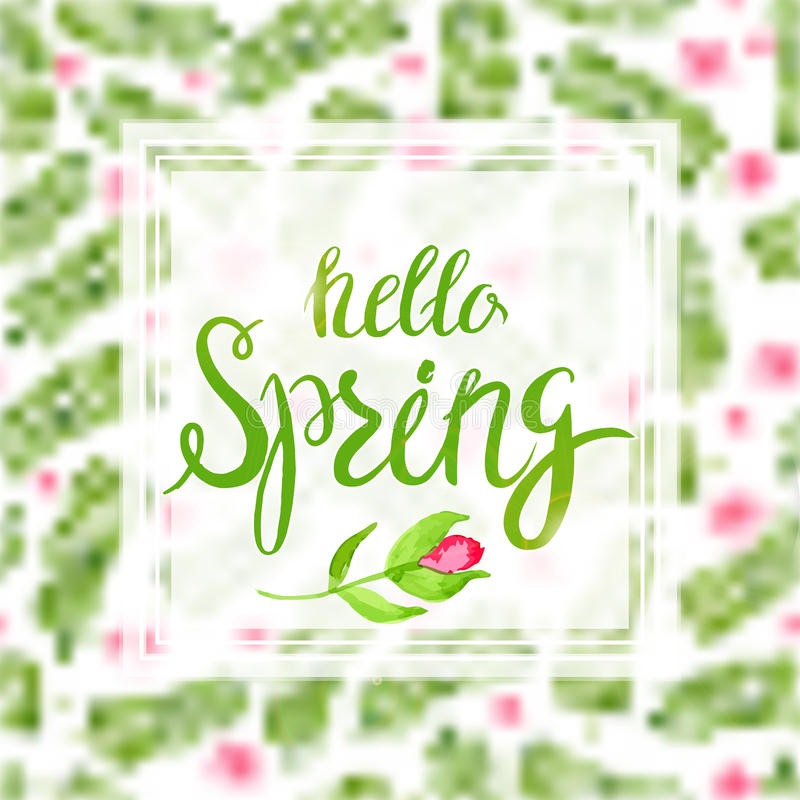 Spring Blurred Background whith Lettering and Flowers. stock illustration