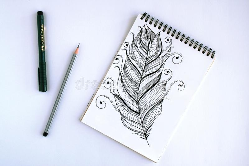 Spring Book With Feather Sketch royalty free stock photography
