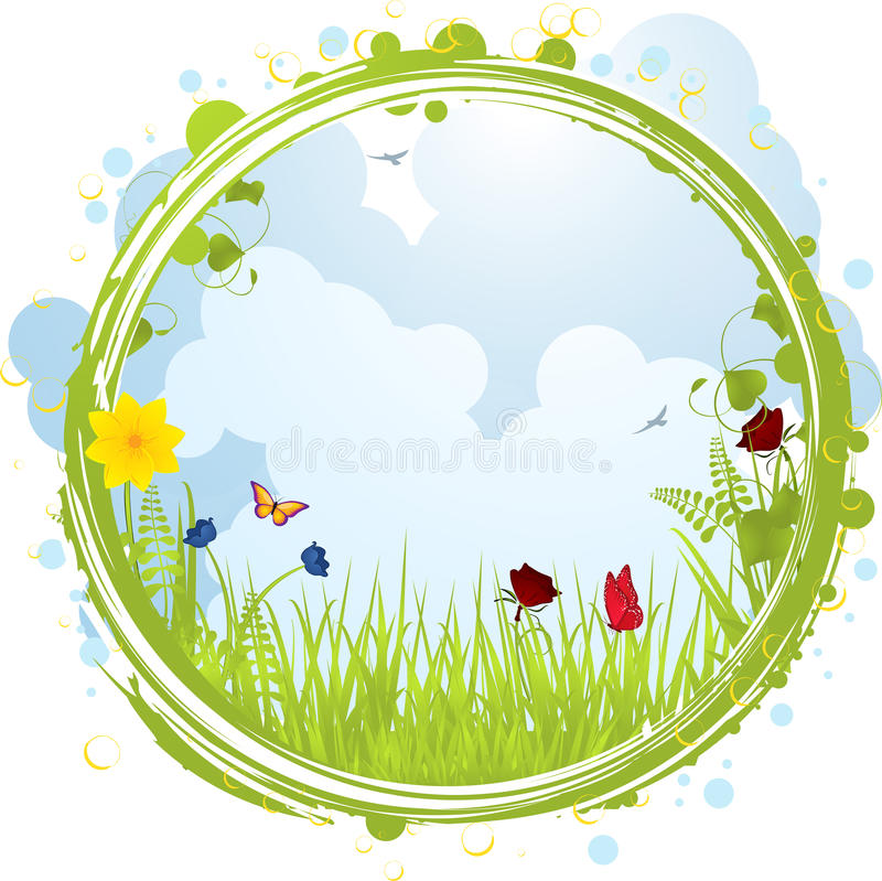 Spring border vector illustration