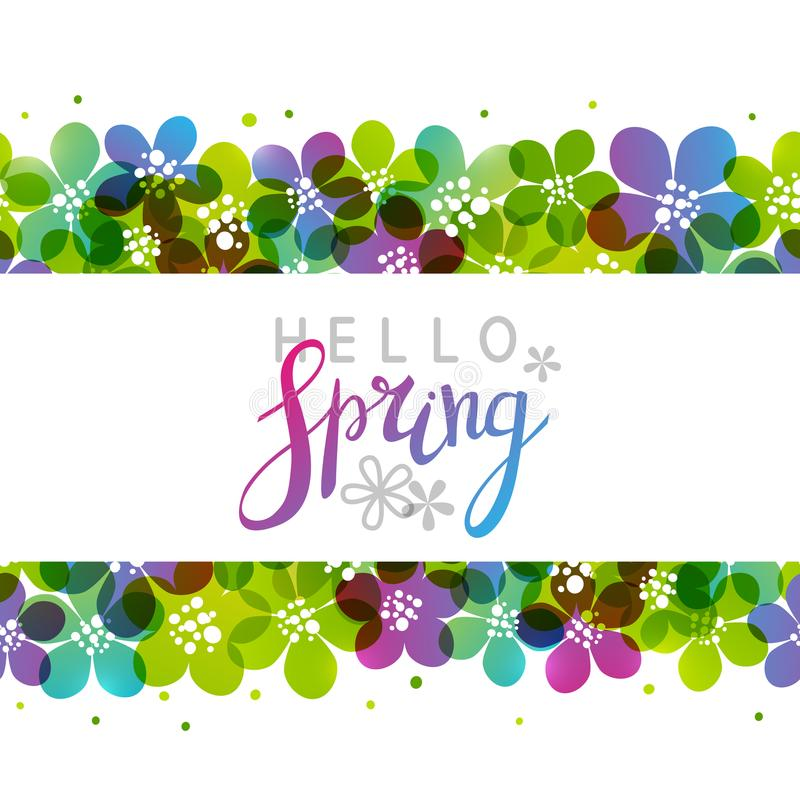Spring background with vibrant flowers stock illustration