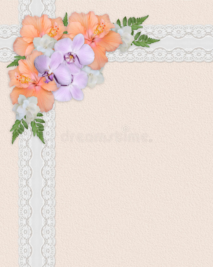 Wedding invitation hibiscus royalty free stock image