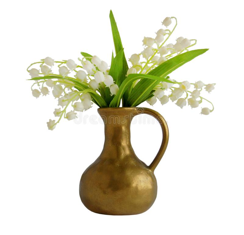 Spring bouquet with lily of the valley. In a bronze vase isolated on white background royalty free stock photo
