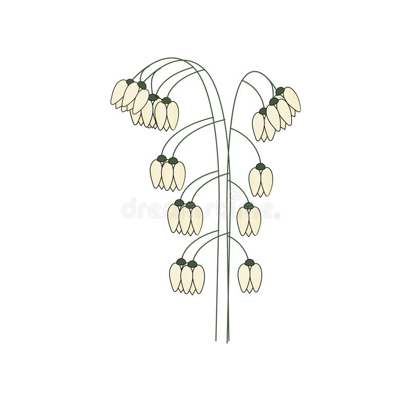 Spring bouquet of white lilies of the valley royalty free illustration