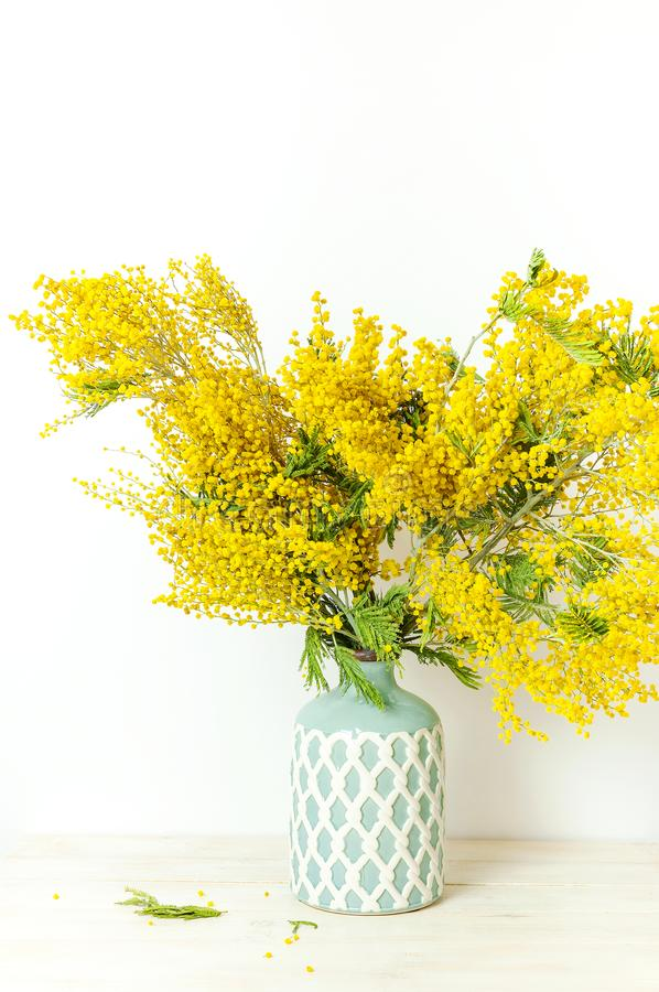Spring bouquet of yellow mimosa flowers in turquoise vase against the light wall copy space. Gentle composition, concept of spring. Season, symbol of 8 March stock image