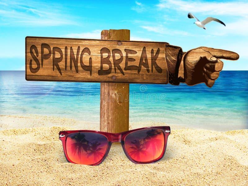 Spring Break Beach Sign Sunglasses Sand Sun Fun Sky stock photo
