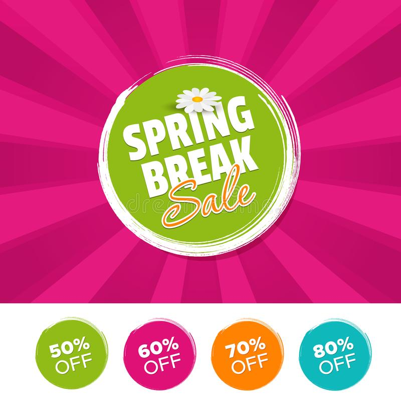 Free Spring Break Sale Color Banner And 50, 60, 70 & 80 Off Marks. Vector Illustration. Royalty Free Stock Photography - 115721967