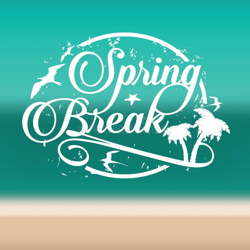 Spring Break Stamp On Beach Background Stock Vector