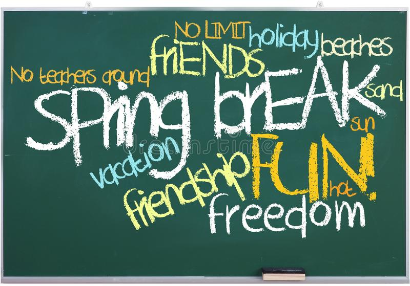 Spring break tags on green chalkboard royalty free stock images