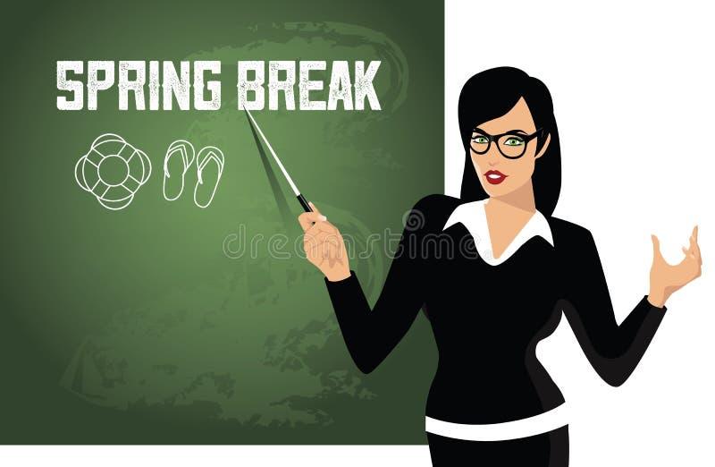 Spring break Teacher pointing to blackboard stock illustration