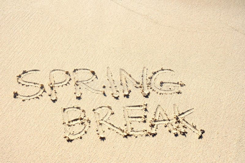 Spring Break Written In Sand On Beach Royalty Free Stock Image