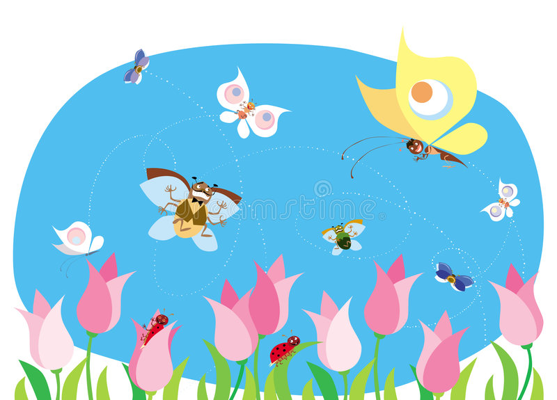 Spring bugs vector illustration