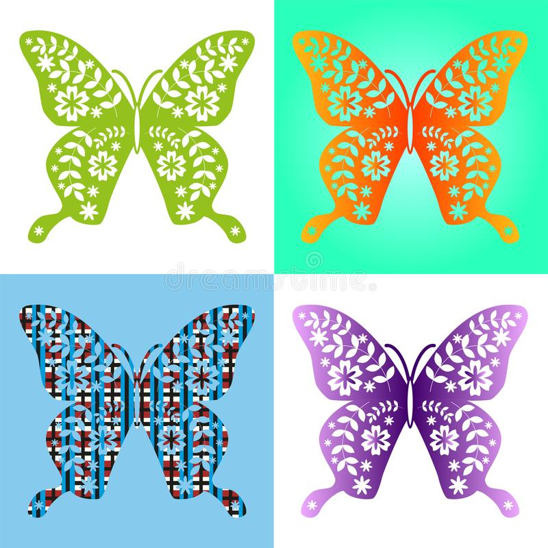 Spring butterfly color composition. Illustration layered for easy manipulation and custom coloring. Illustration stock illustration