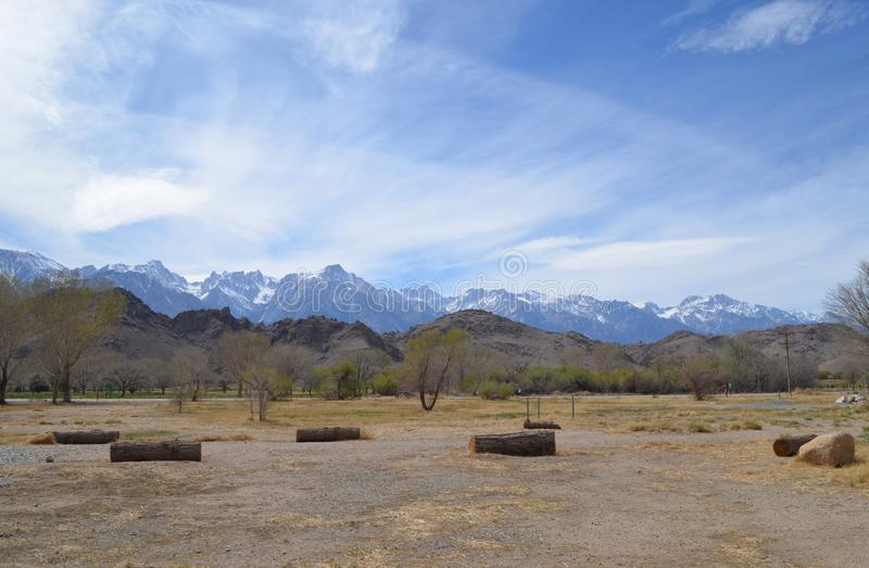 Spring in California: View of Mount Whitney in the Sierra Nevada Mountains and the Alabama Hills from Owens Valley. Springtime in California: View of Mount royalty free stock image