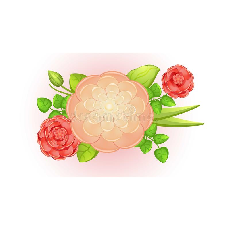Spring camellia bouquet icon, cartoon style. Spring camellia bouquet icon. Cartoon of spring camellia bouquet vector icon for web design isolated on white stock illustration