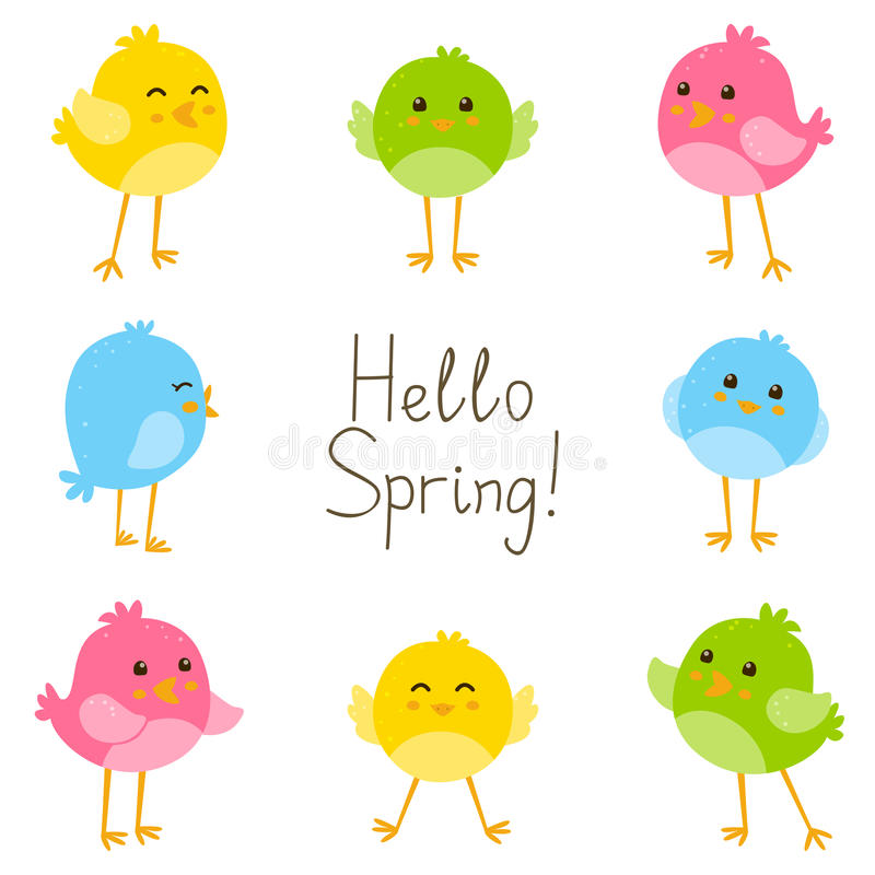 Spring card with birds. Spring card with cute birds royalty free illustration