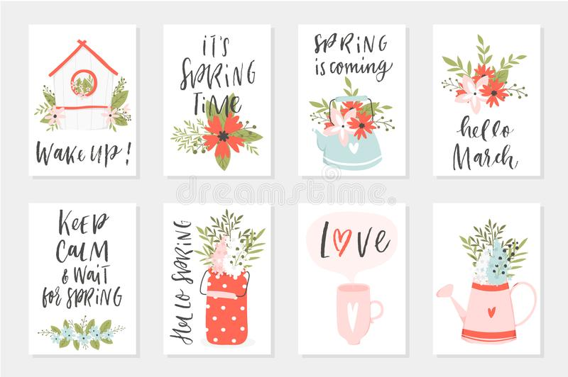 Spring card set, hand drawn elements with quotes, calligraphy, flowers, wreath, leaf. RnrnPerfect for greeting cards, sale badges, scrapbook, poster, cover stock illustration