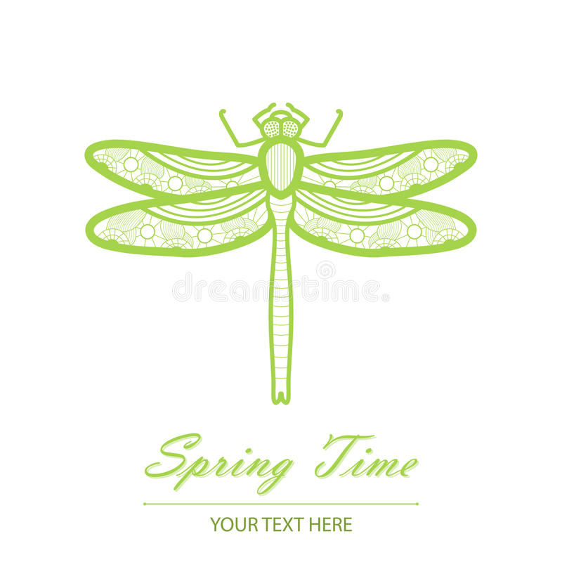 Download Spring Card With An Unusual Dragonfly Stock Vector - Image: 39280057