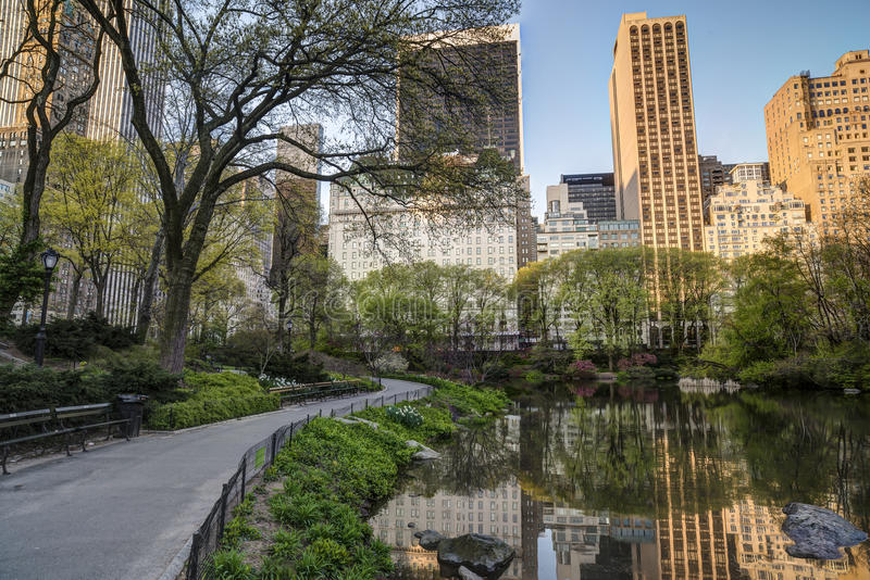 Spring in Central Park. New York City facing the Plaza hotel royalty free stock photos
