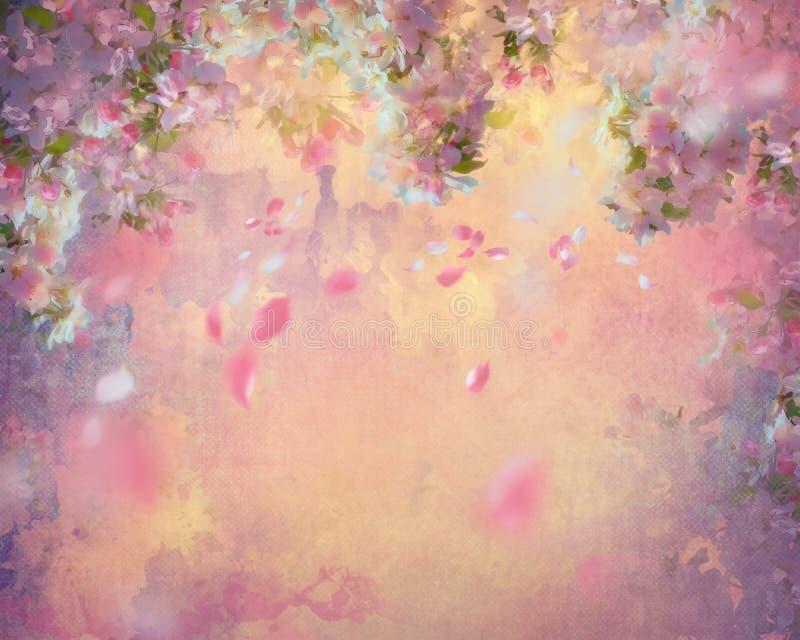 Spring Cherry Blossom Painting stock illustration