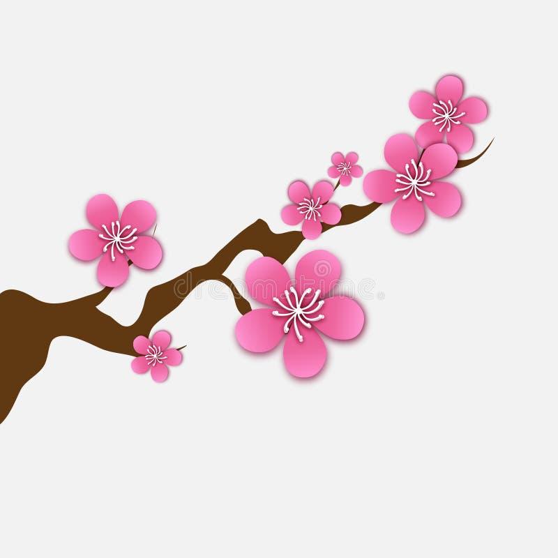 Spring Cherry blossom. Pink beautiful sakura branch with papercraft flowers. stock illustration