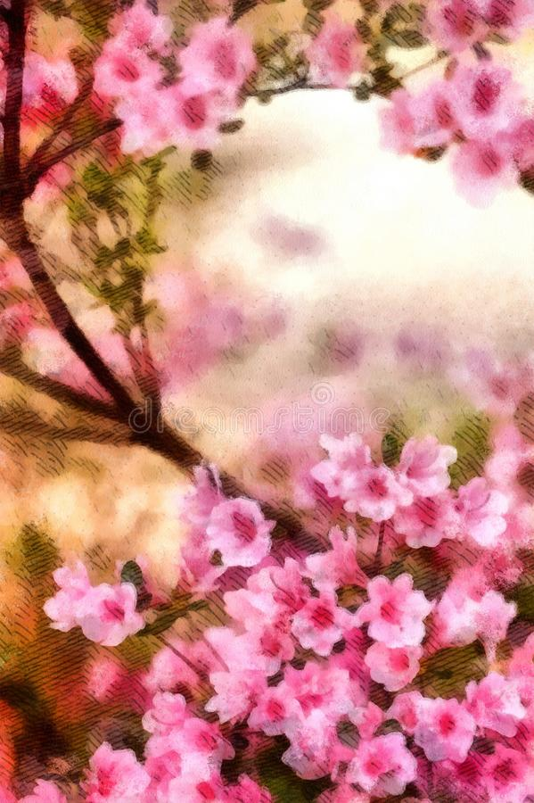 Spring Cherry blossoms, pink flowers watercolor painting wallpaper background royalty free illustration